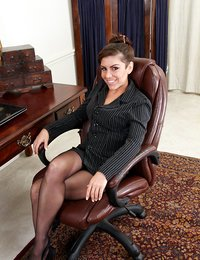 Horny office cougar rubs her..